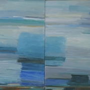"Seaside, diptych, 30""x48"", oil on canvas"
