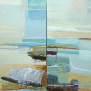 "Conversation at the Coast, diptych, 30""x60"", oil on canvas"