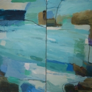 "Water and Sky Diptych,64""x72"", oil on canvas"